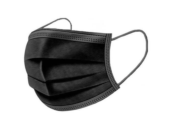 3-ply Elastic Ear Loop Disposable Face Mask - Black